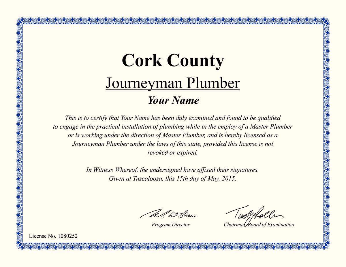 Journey Plumber Certificate